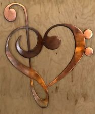 Treble Clef Heart Patina Finish Metal Wall Art Hanging