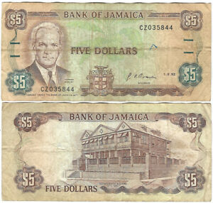 Jamaica 5$ Five Dollars 1992 Banknote A P70d