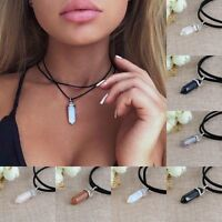 Women PU Leather Choker Chunky Collar Crystal Pendant Double Layer Necklace Gift