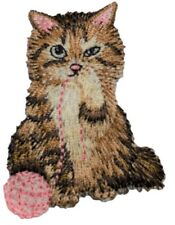 Cat with Yarn Applique Patch (Iron on)