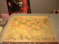 1940's CRAM'S SUPERIOR SERIESVintage United States CLASSROOM PULL DOWN Map!