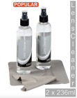 Optical Lens Cleaner 2 x 236ml Bottles and 2 Microfibre Cloths - Cleans Glasses
