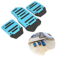 3Pcs Blue Aluminium Manual Car Throttle Brake Clutch Pedal Foot Treadle Cover US