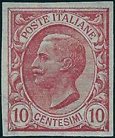 Regno - 1906 - 10 cent. rosa  -NON DENTELLATO - MNH - Sassone n.82e
