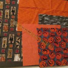 Halloween Scrap cotton fabric bundle remnants lot Gray block Witch 2 oz