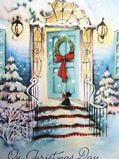 Vintage Christmas Card UNUSED Scottie Dog is Greeter at the Front Door