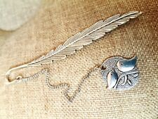 Antique Sliver Lucky Bird Pendant  Feather Bookmark Jewelry Gift