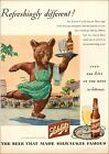 1945 WWII era AD for SCHLITZ BEER , Ice Skating Bear Delivers  092621