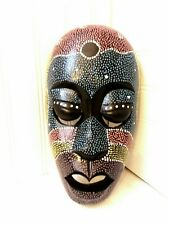 """Hand Carved Wood Wall Hanging Shield Mask Face 10""""  Hand Painted"""
