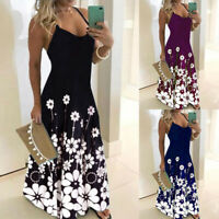 ❤️Womens Summer Boho Floral Long Maxi Dress Ladies Casual Strappy Sundress S-3XL