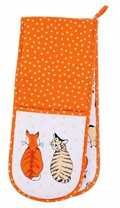 Cats in Waiting Double Oven Gloves Mitts Pot Holders 100% Cotton Cat Design