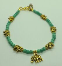 Turquoise Glass Beads Gold Lucky Elephant Charm Anklet Ankle Bracelet