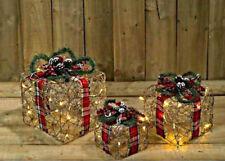 Light Up Christmas Present LED Decoration Traditional Tartan Indoor Gift Box