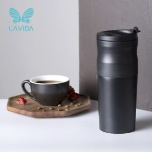 LAVIDA Camping Portable Coffee Machine Espresso Maker with Bean Grinder Black