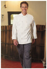 One Lot of 10 White Chef Coats, Long Sleeve, Plastic Buttons. Size: M - 402