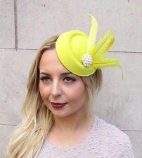 Yellow Statement Feather Pillbox Hat Hair Fascinator Races Vtg Headpiece 2952