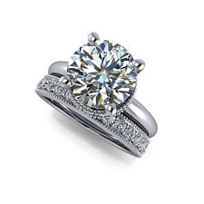 Round 3.04 Ct Dimond Engagement Ring Sets Solid 14kt White Gold Ring M N O P ED