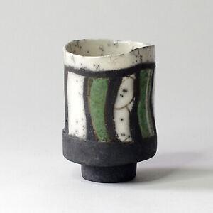ELIZABETH RAEBURN Studio/Art Pottery - Smoked Raku Yunomi, 8.5 cm