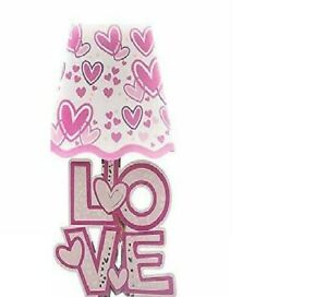 LED LIGHT PINK LOVE & HEART WALL DECORATION  STICKERS PLASTIC LAMP SHAPE
