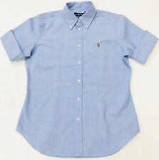 Ralph Lauren Women's Cropped Sleeve Chambray Oxford Shirt Slim Fit Blue