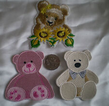 100 EMBROIDERY IRON ON OR SEW TEDDY BEAR MOTIF PATCH LARGE 10x9cm
