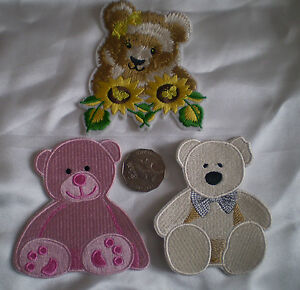 NEW 100% EMBROIDERY IRON ON OR SEW GORGEOUS TEDDY BEAR MOTIF PATCH  LARGE 10x9cm