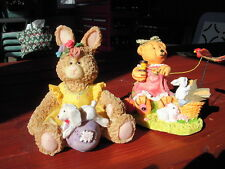 2 Resin Teddybears With Rabbit Figurines