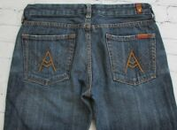 Woman's 7 Seven For All Mankind A Pocket Bootcut Jeans Size 28 Dark Wash