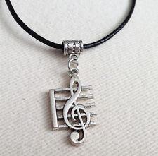Treble Clef Música De Plata Antigua PLT Colgante Collar Regalo para Hombre Dama