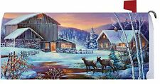 Winter Cabin Deer Stream Magnetic Mailbox Cover