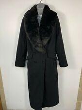 WOMENS JACQUES VERT BLACK FAUX FUR COLLAR LONG MAXI WINTER OVER COAT SIZE UK 16