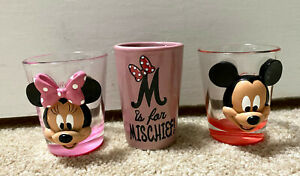 Disneyworld Shot Glass Lot of 3 Mickey Mouse Minnie Mouse Pink Red 3D Image