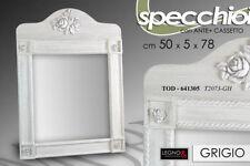 SPECCHIERA SPECCHIO 78*50 CM GRIGIO CHIARO LEGNO CORNICE SHABBY CHIC TOD 641305