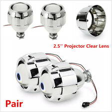 "2x LHD 2.5"" Bi-Xenon HID Projector Kit Clear Lens Car Headlights Retrofit Shroud"