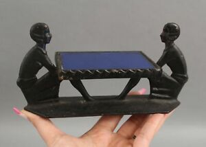 Antique 1920s Art Deco Figural Lady Cast Iron Blue Mirror Plateau Display Stand