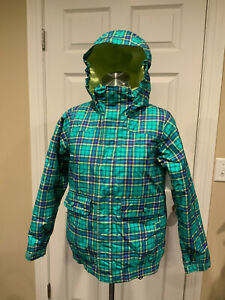 Burton Teal Blue, Purple & Yellow Plaid Print Hooded Jacket, Size Large (14/16)