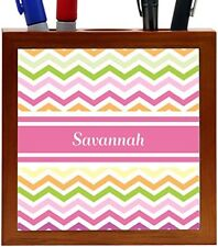 Rikki Knight Savannah Pink Chevron Name Design 5-Inch Wooden Tile Pen Holder