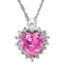 Xmas Gifts Jewelry Lady Heart Pink Sapphire Silver Tone Pendant Necklace