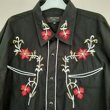 RODEO Redstar Black Embroidered Rodeo Shirt 3XL 54 Chest  Cowboy Western
