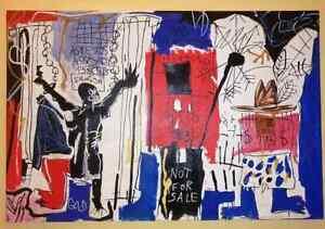American Artist Jean Michel Basquiat, Oil On Canvas Signed Big