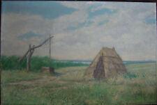 Peinture À L'Huile J.H.Albrecht 1970 Traction Et Cabane ° Hongrie ??Steppe ? /
