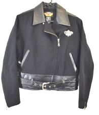Harley-Davidson Womens Small Wool Leather Quilted Rider Jacket Rare Metal Patch