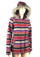 Mossimo Womens Jacket Coat Wool Blend Size S Faux Fur Hooded Plaid Pink Purple