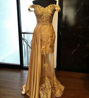 Gold Mermaid Formal Dresses Evening Cocktail Party Prom Gowns Tulle Lace Long