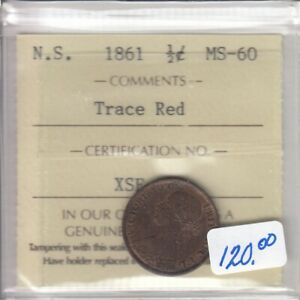 1861 Nova Scotia Half Cent ICCS Graded MS-60 Trace Red - XSE 917
