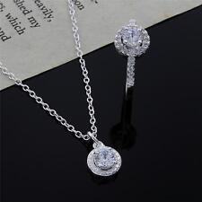 fashion 925 sterling silver necklace earring jewelry set cute women wedding nice