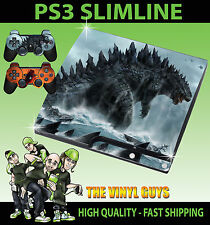 PLAYSTATION PS3 SLIM STICKER GODZILLA KING LIZARD SEA MONSTER SKIN & 2 PAD SKIN