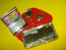 Barbie FASHIONISTA Doll Accessory Lot SILVER LAPTOP & VANITY SET