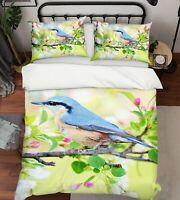 3D Blue Bird A320 Animal Bed Pillowcases Quilt Duvet Cover Set Queen King Zoe