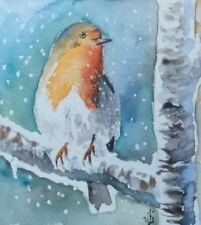 Hand Painted Original Watercolor EUROPEAN ROBIN Winter Snow Bird Signed by JV